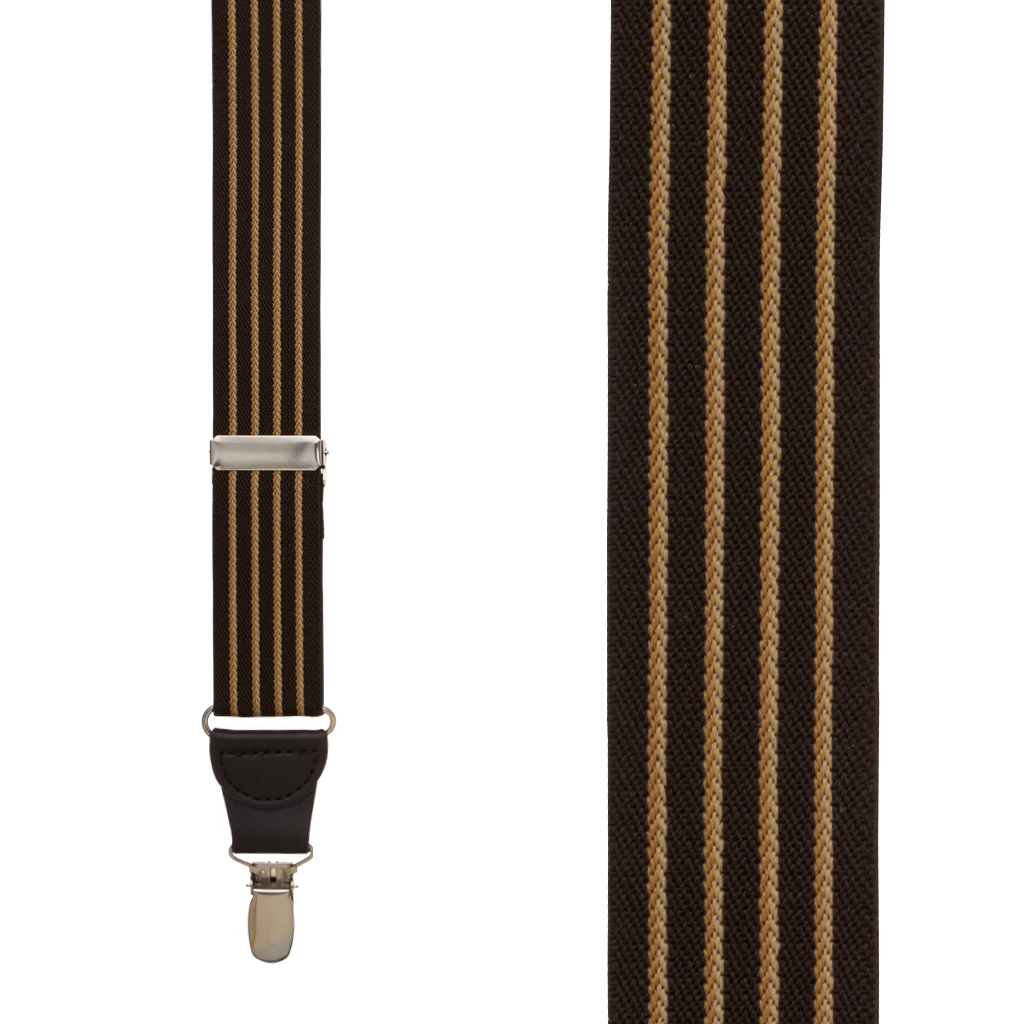 Front View - Pinstripe Elastic Drop Clip Suspenders (Y-Back) - Brown