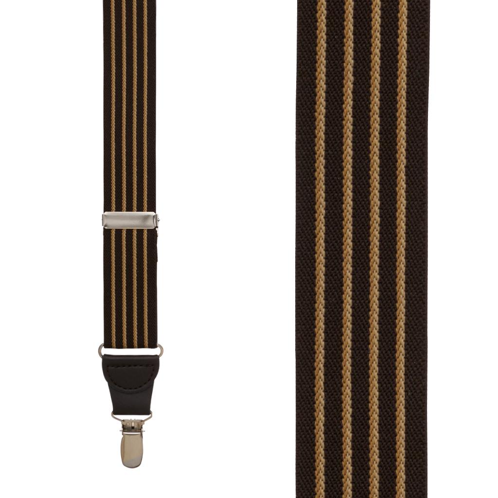 Front View - Pinstripe Elastic Drop Clip Suspenders (Y-Back) - Brown