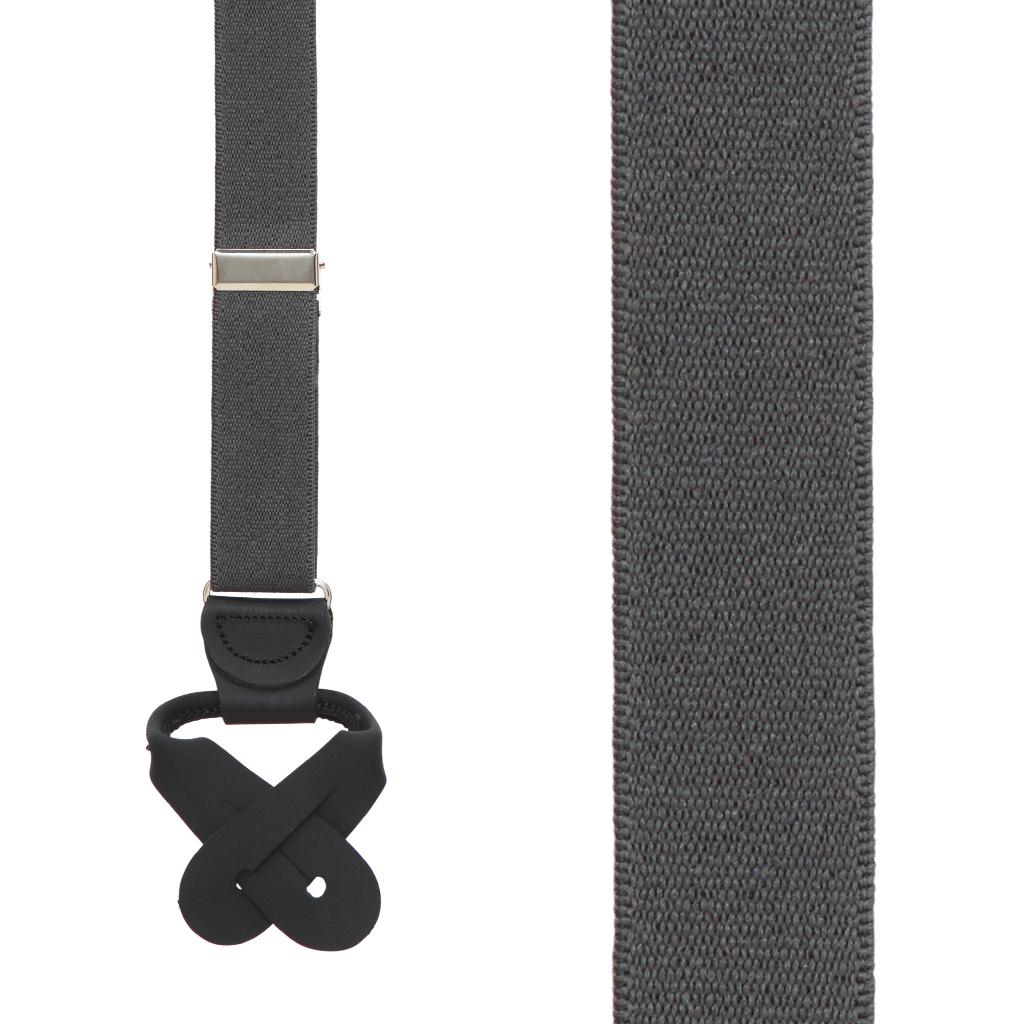 1 Inch Wide Button Suspenders - DARK GREY