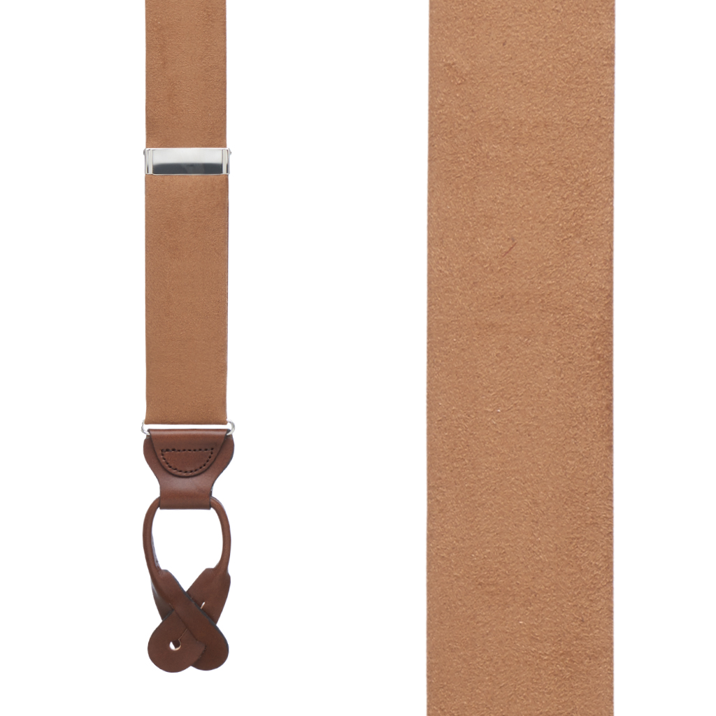 Suede Button Suspenders - Front View