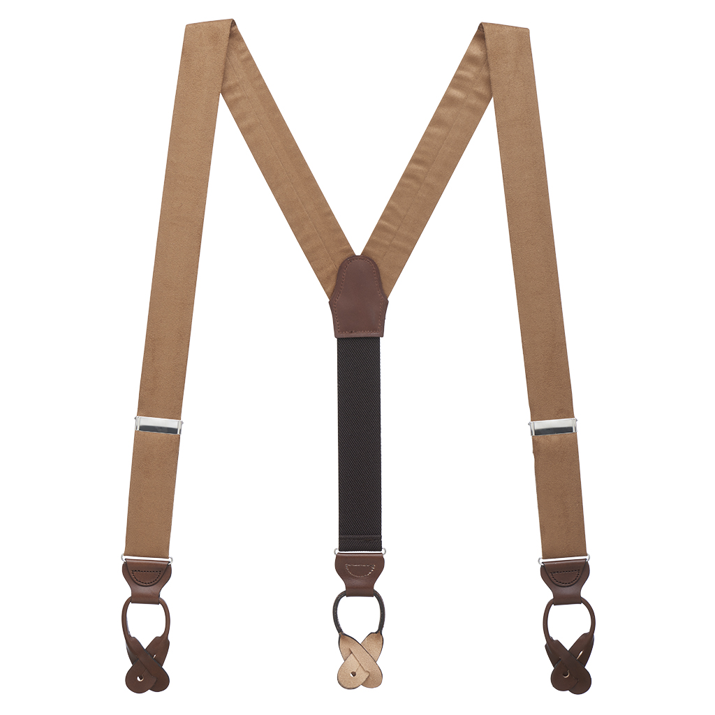 Suede Button Suspenders - Full View