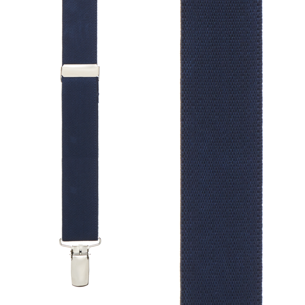 1 Inch Wide Clip Y-Back Suspenders in Navy Blue - Front View