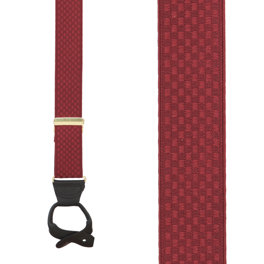 Jacquard Checkered Suspenders - Button Red Front View