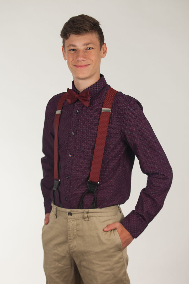 Model Wearing Jacquard Checkered Suspenders - Button Front View