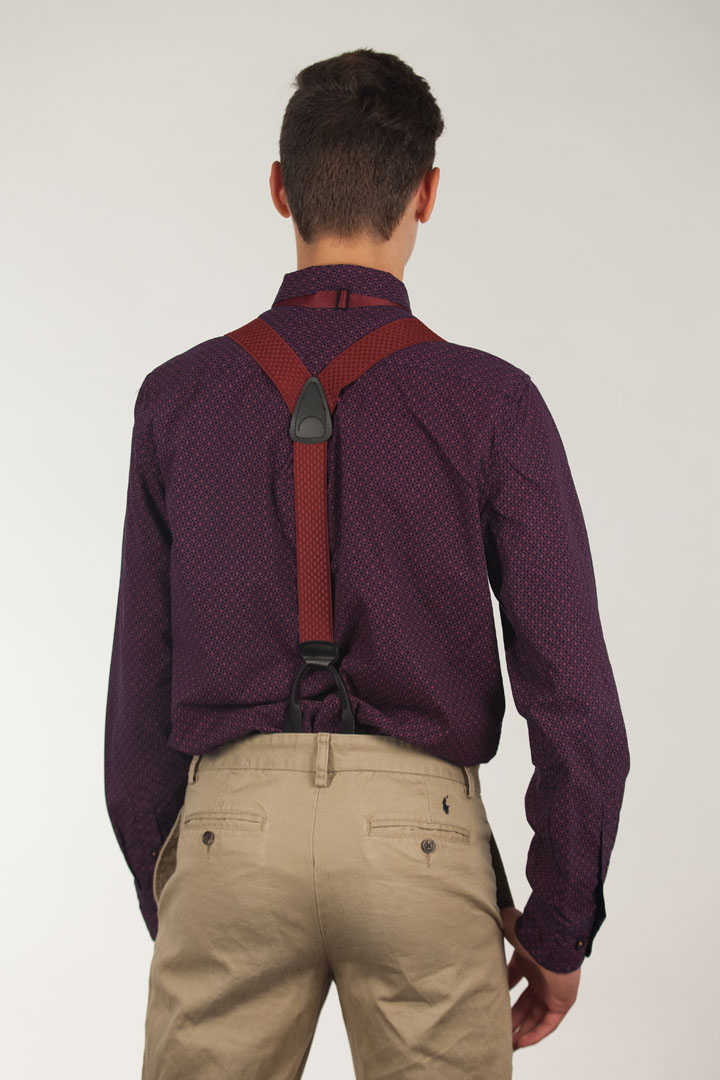 Model Wearing Jacquard Checkered Suspenders - Button Rear View