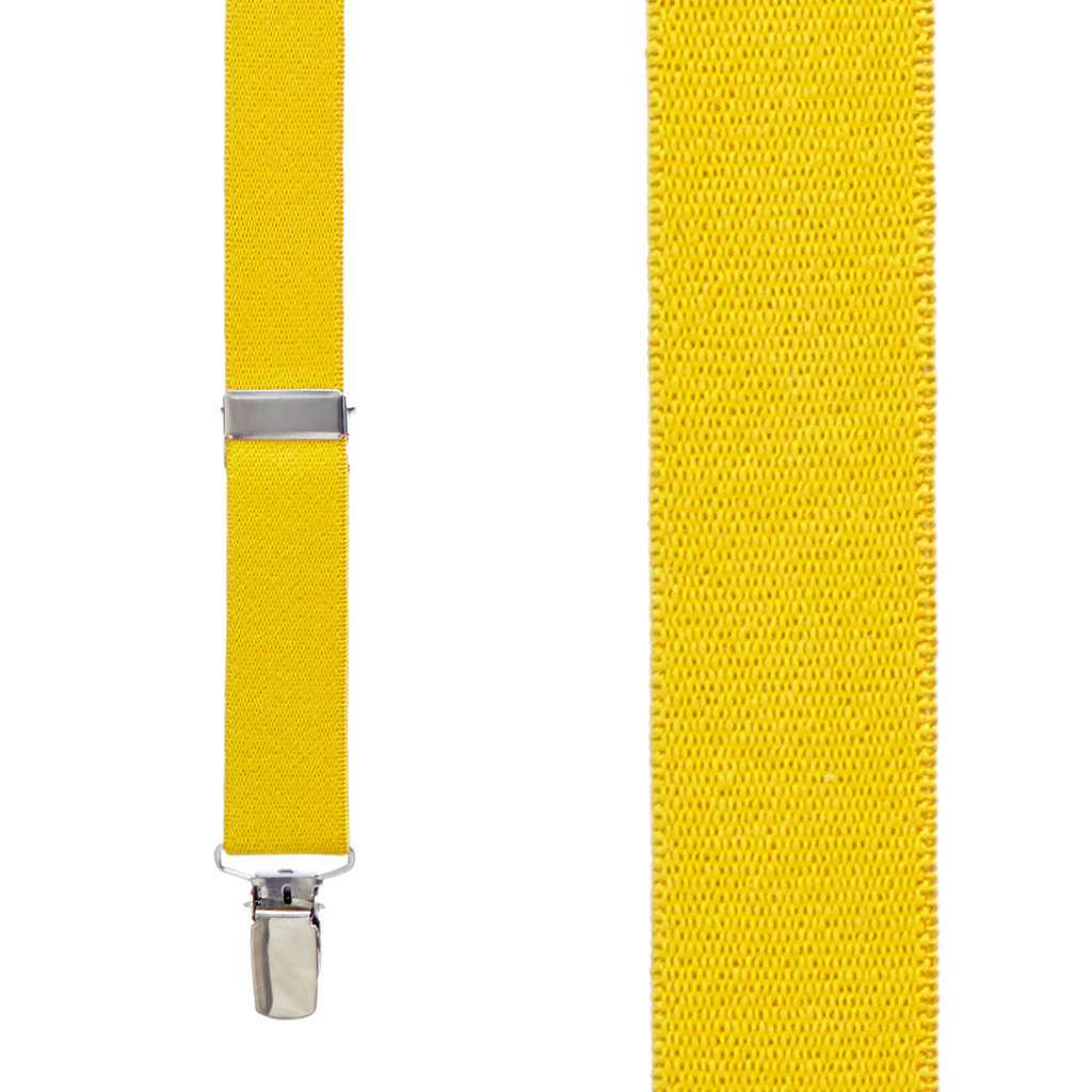 1 Inch Wide Clip X-Back Suspenders in Canary Yellow - Front View