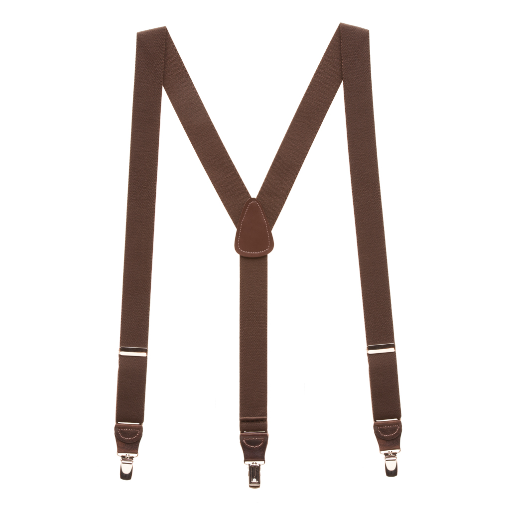 1.25 Inch Wide Y-Back Clip Suspenders - BROWN