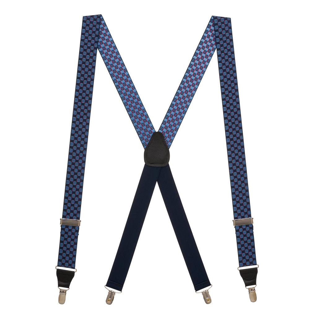 Full View - Navy Jacquard Tacoma Suspenders - Drop Clip