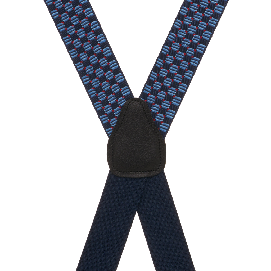 Rear View - Navy Jacquard Tacoma Suspenders - Drop Clip