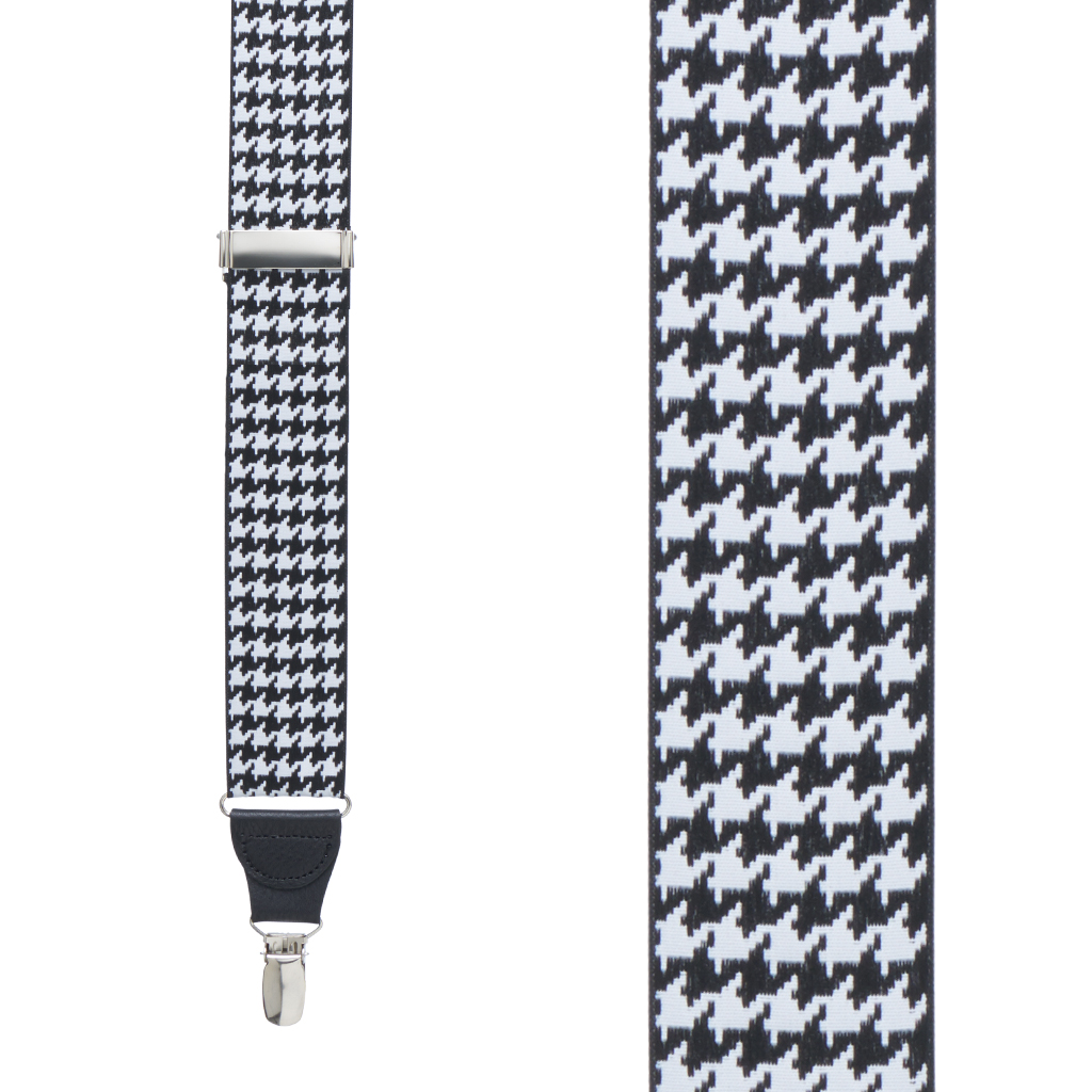 Grosgrain Houndstooth Suspenders - Drop Clip