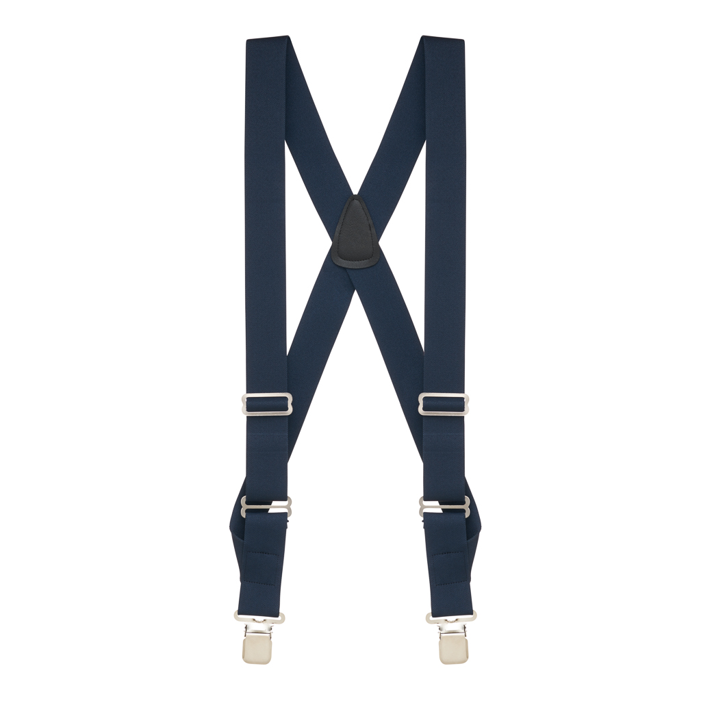 Navy Side Clip Suspenders, 1.5-Inch Wide - Construction Clip Full View