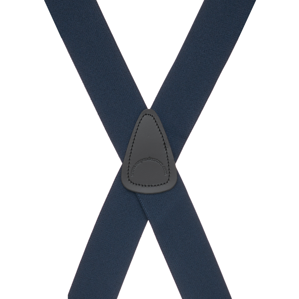 Navy Side Clip Suspenders, 1.5-Inch Wide - Construction Clip Rear View