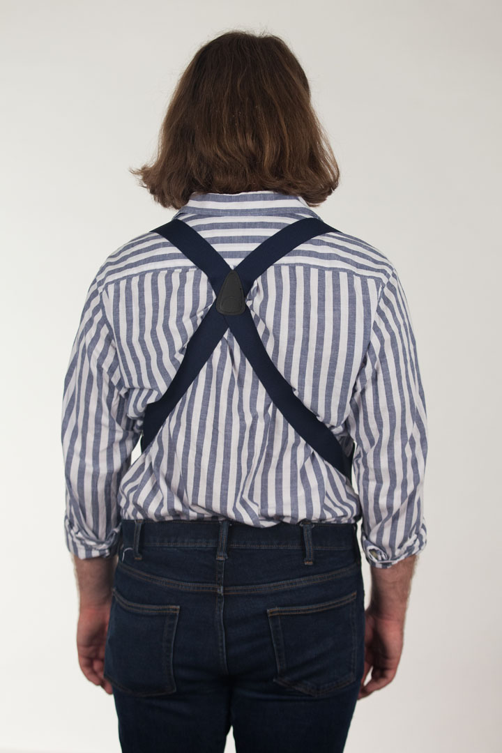Model Wearing Navy Side Clip Suspenders, 1.5-Inch Wide - Construction Clip Rear View