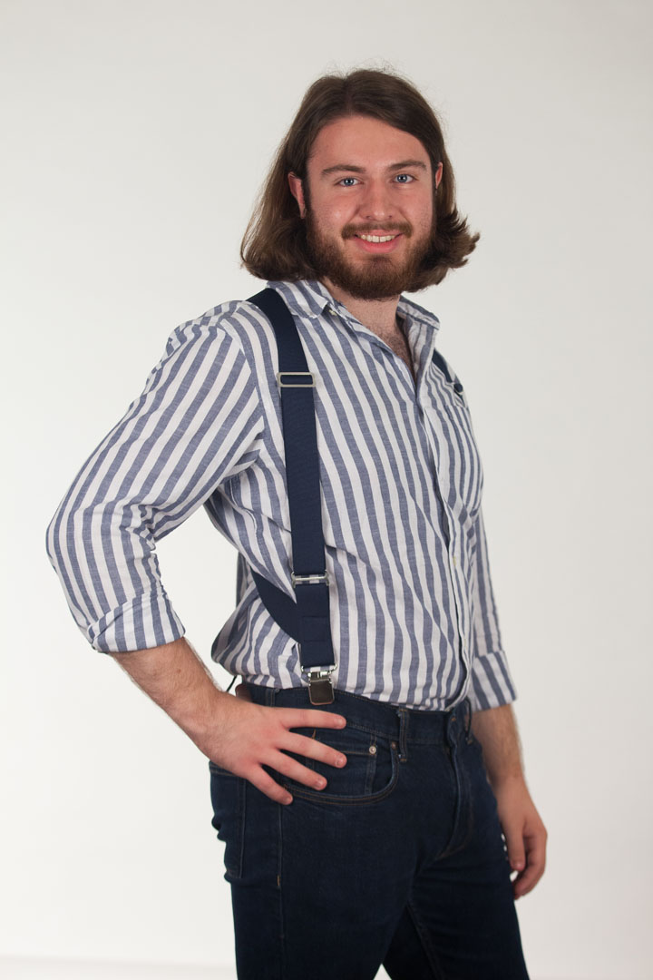 Model Wearing Navy Side Clip Suspenders, 1.5-Inch Wide - Construction Clip Side View