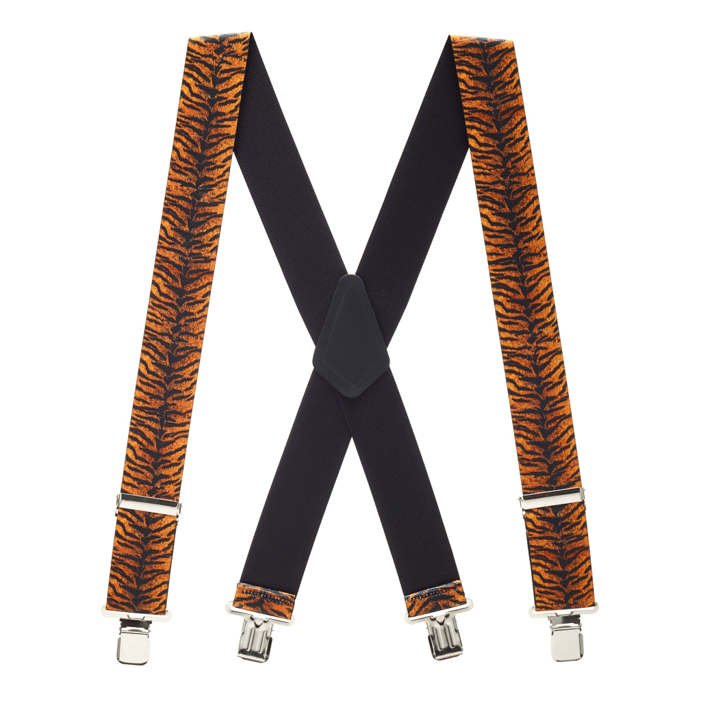 Tiger Print Suspenders Full View
