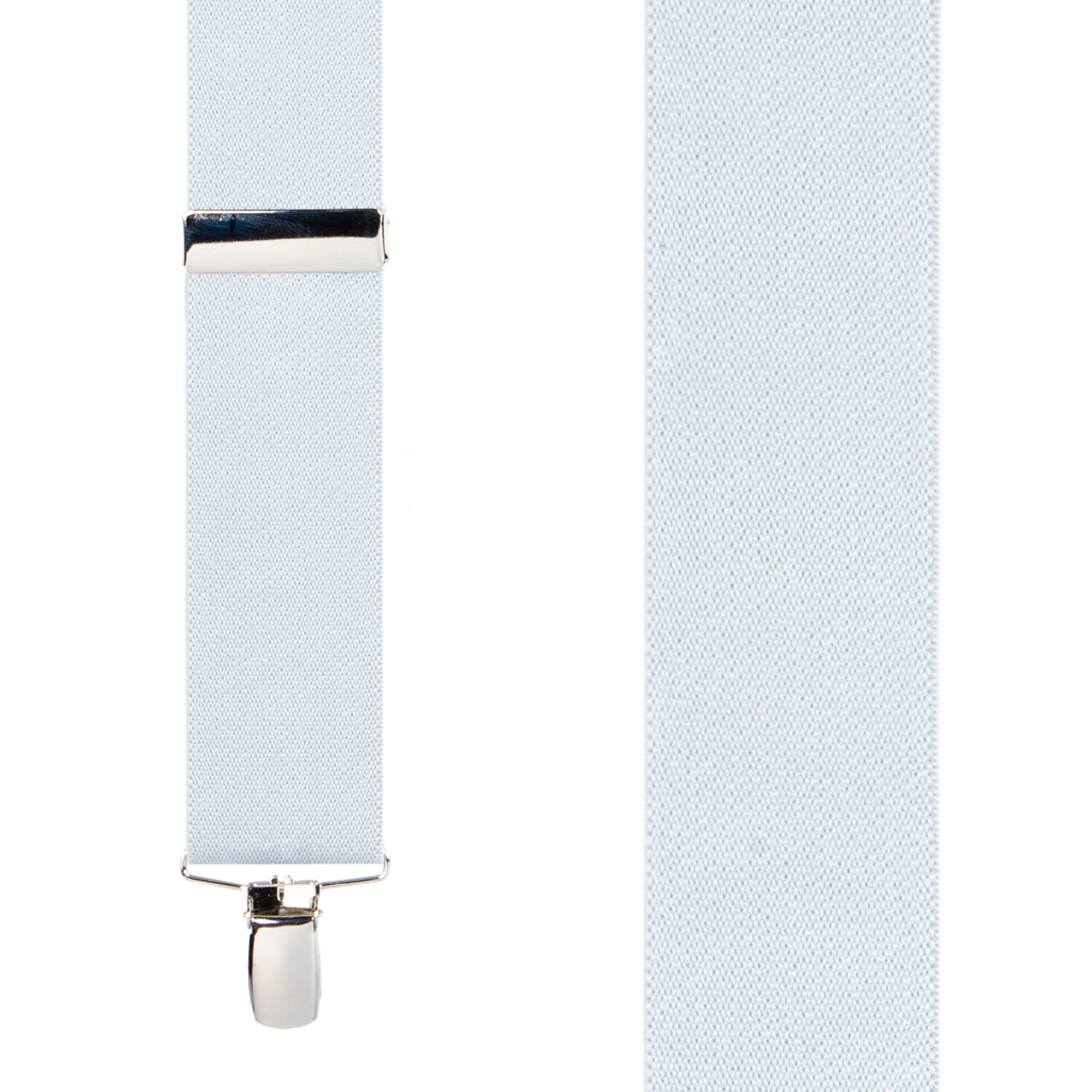 Front View - 1.5 Inch Wide Clip Suspenders - WHITE