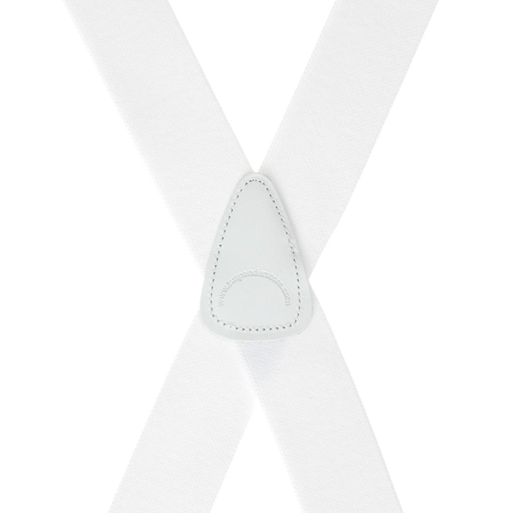 Rear View - 1.5 Inch Wide Clip Suspenders - WHITE