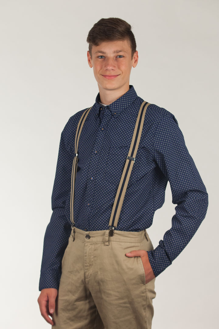 Good Prices the best attitude great discount sale Khaki/Navy Striped Clip Suspenders - 1 Inch Wide