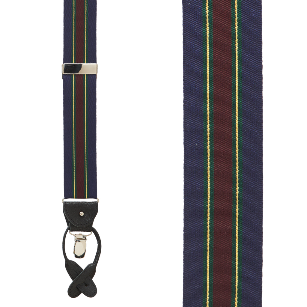 Barathea Variable Stripe Suspenders in Green & Navy - Front View