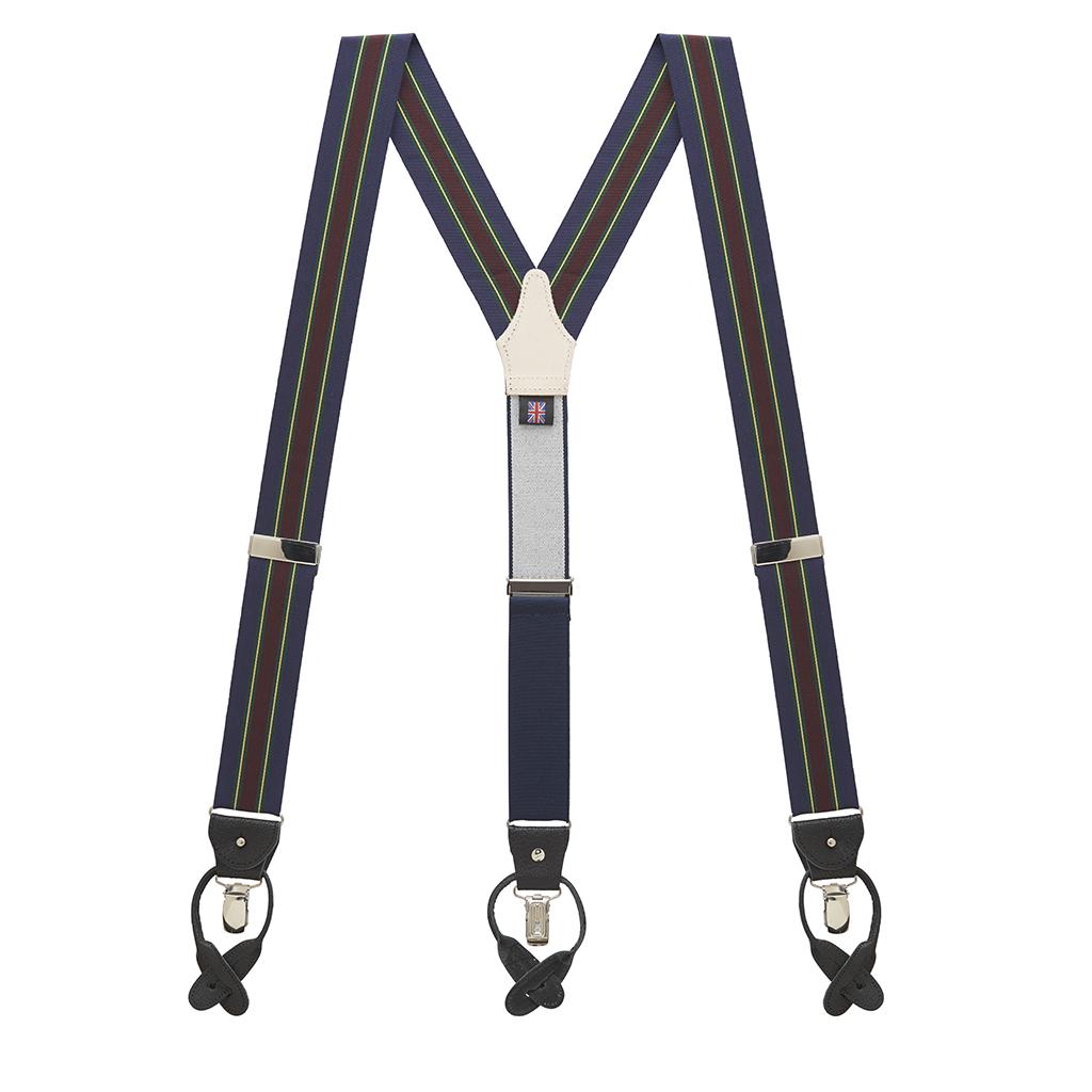 Barathea Variable Stripe Suspenders in Green & Navy - Full View