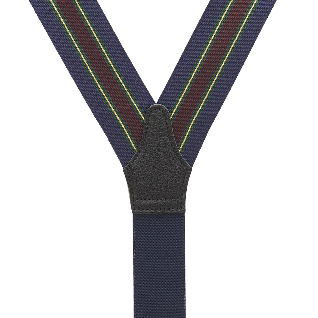 Barathea Variable Stripe Suspenders in Green & Navy - Rear View