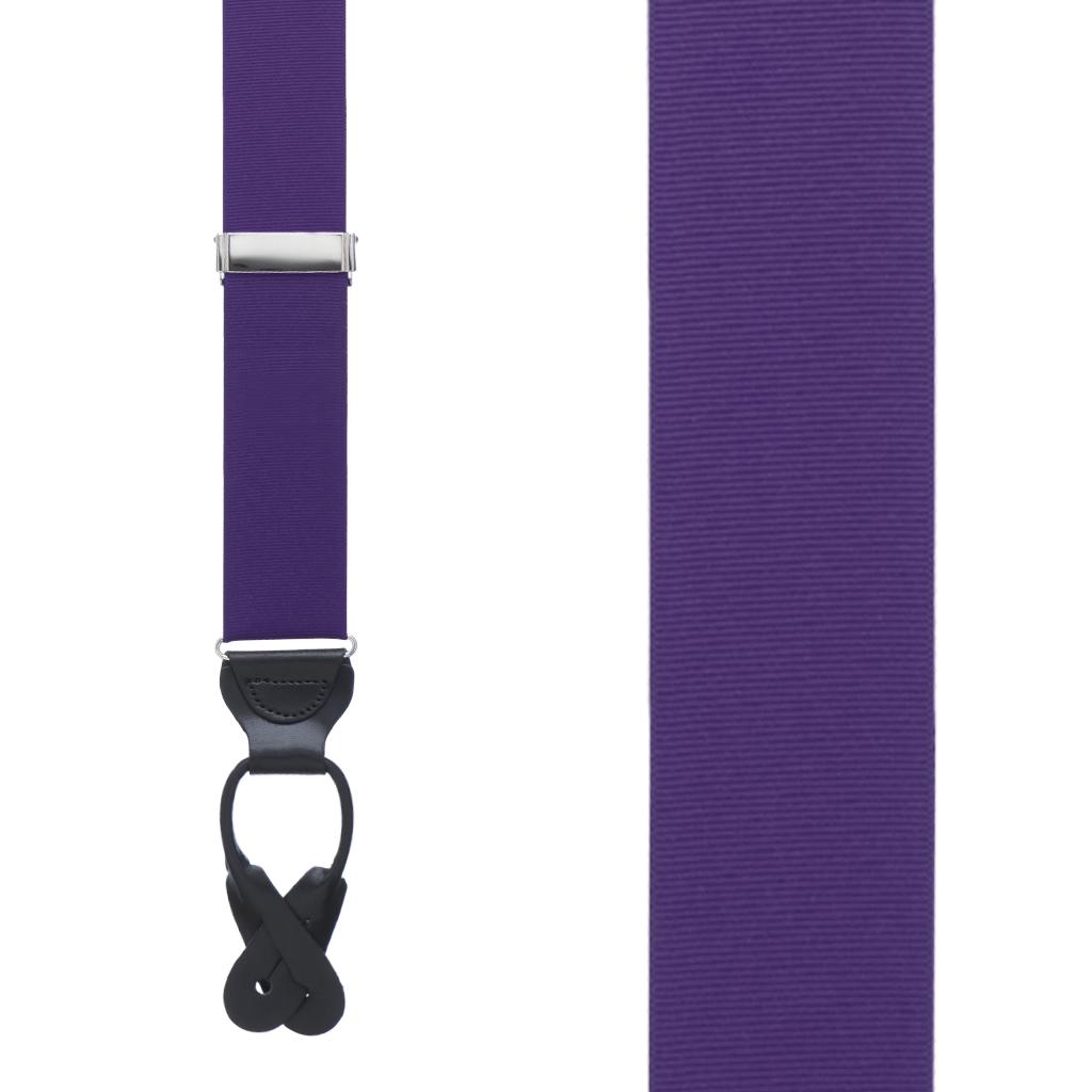 Grosgrain Button Suspenders in Dark Purple - Front View