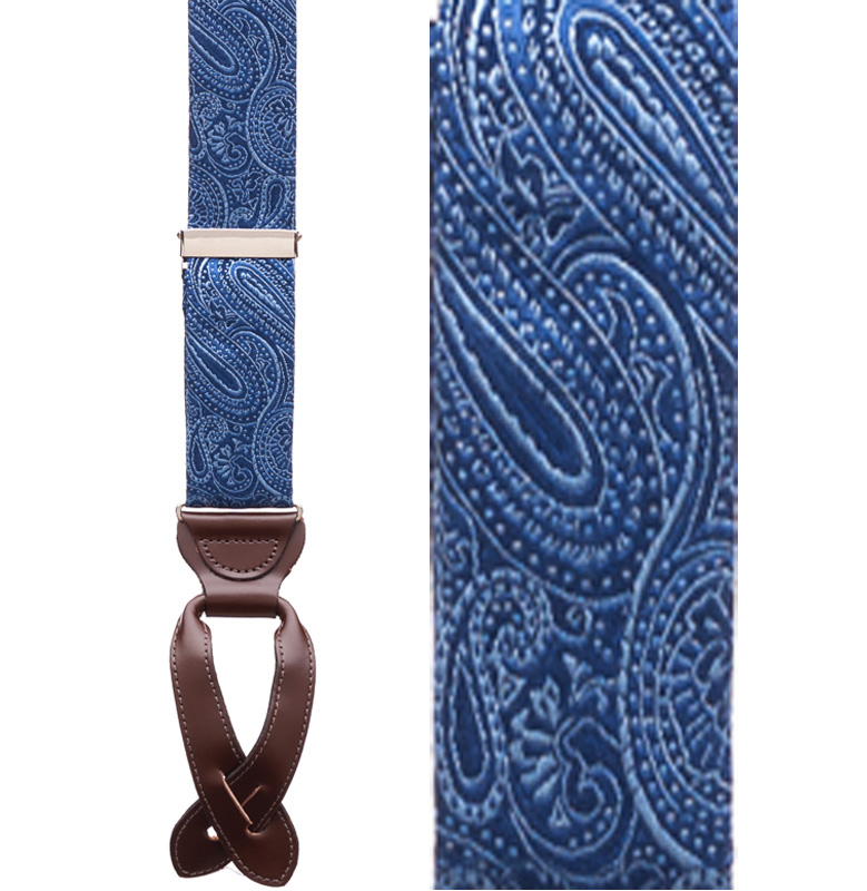 Navy Blue Paisley Silk Suspenders - Button Front View