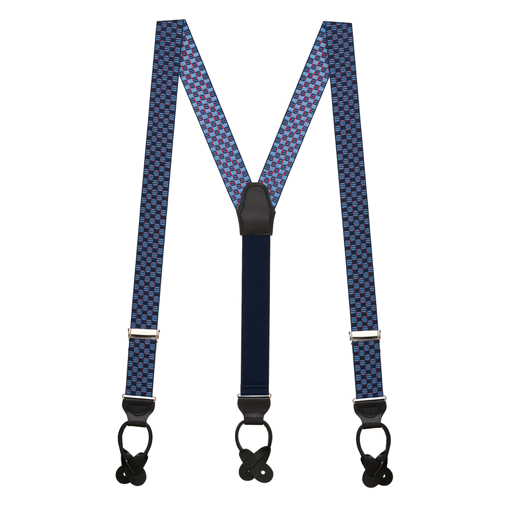 Navy Jacquard Tacoma Suspenders - BUTTON