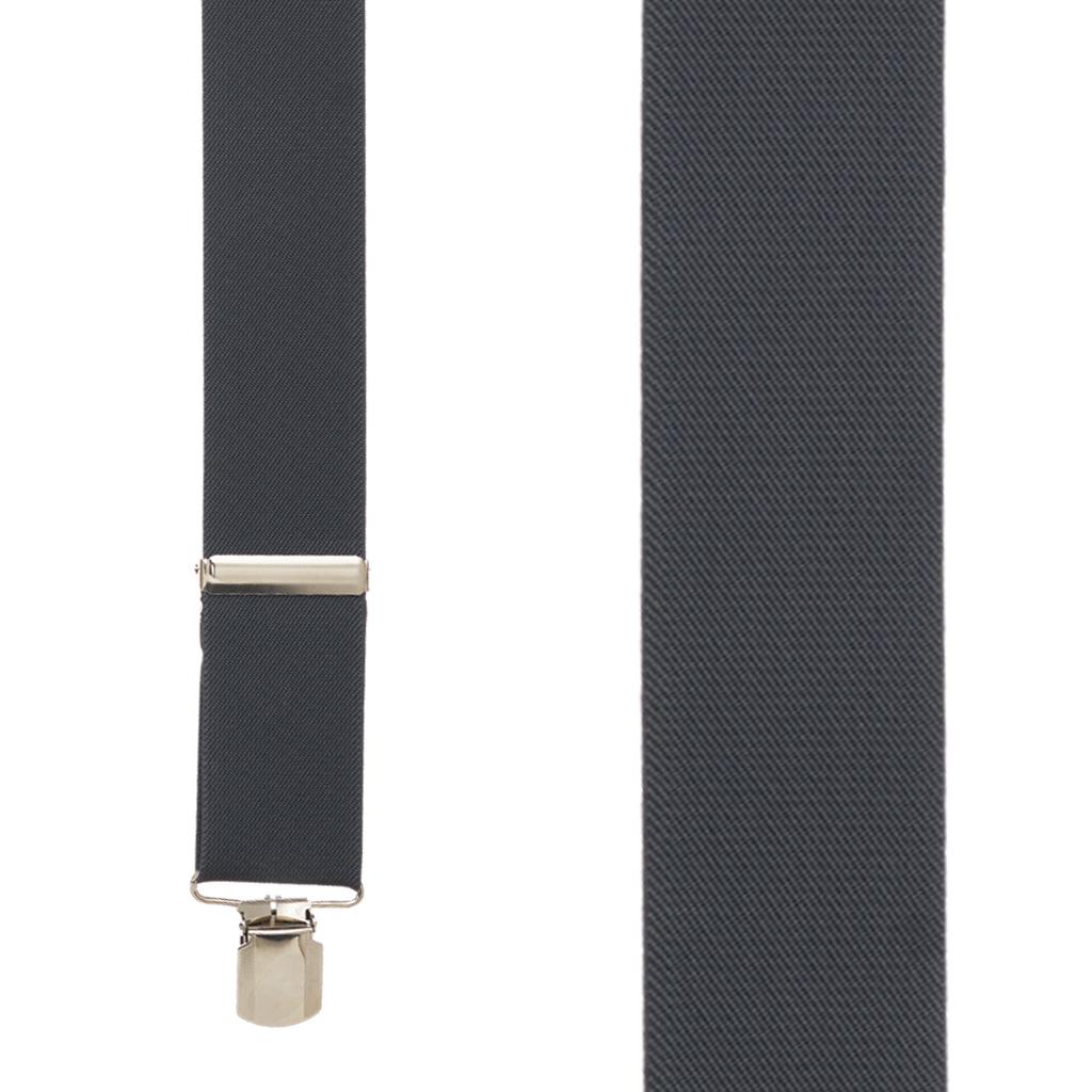 2-Inch Wide Pin Clip Suspenders in Dark Grey - Front View