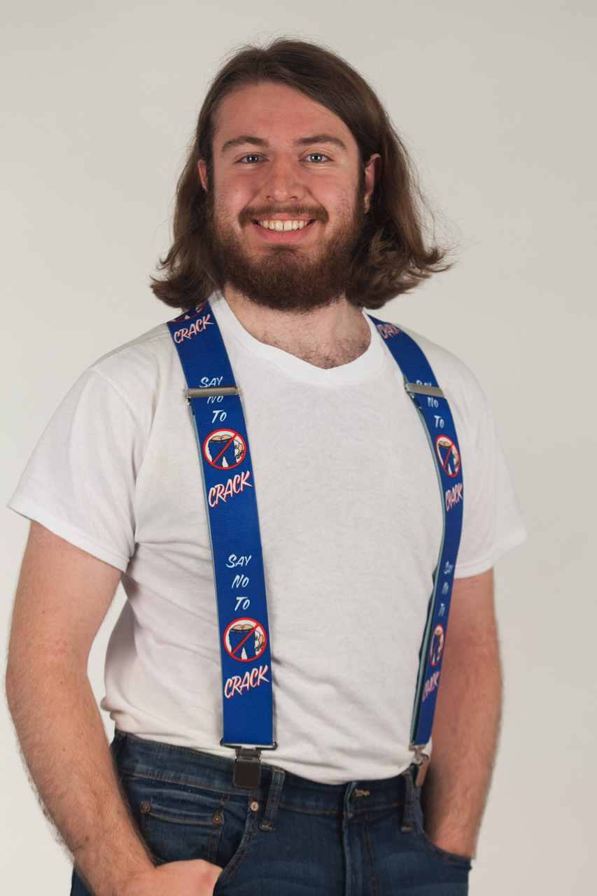 Model wearing suspenders