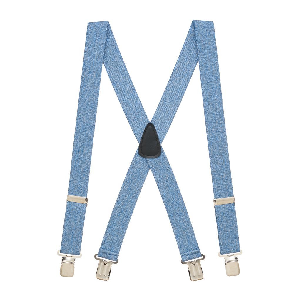 Full View - DENIM 1.5 Inch Wide Construction Clip Suspenders