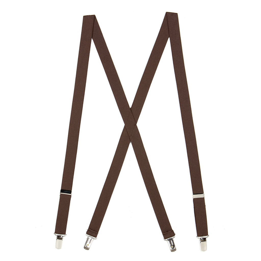1 Inch Wide Clip Suspenders (X-Back) - BROWN