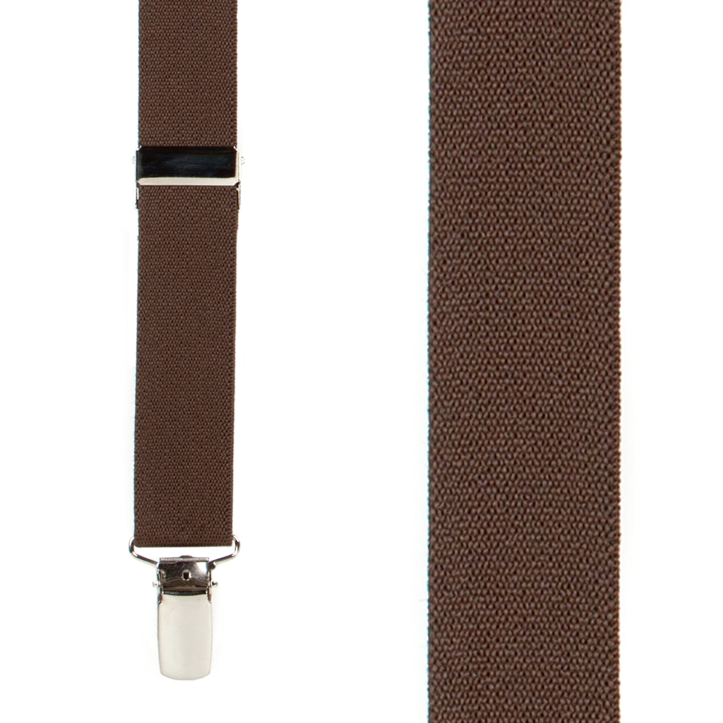 1 Inch Wide Clip X-Back Suspenders in Brown - Front View
