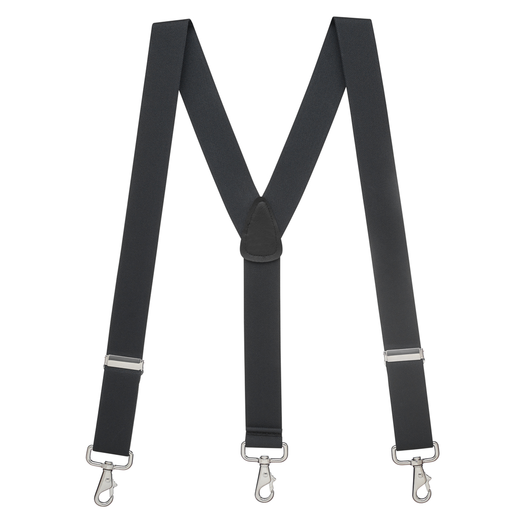 Full View - 1.5 Inch Wide Trigger Snap Suspenders - BLACK