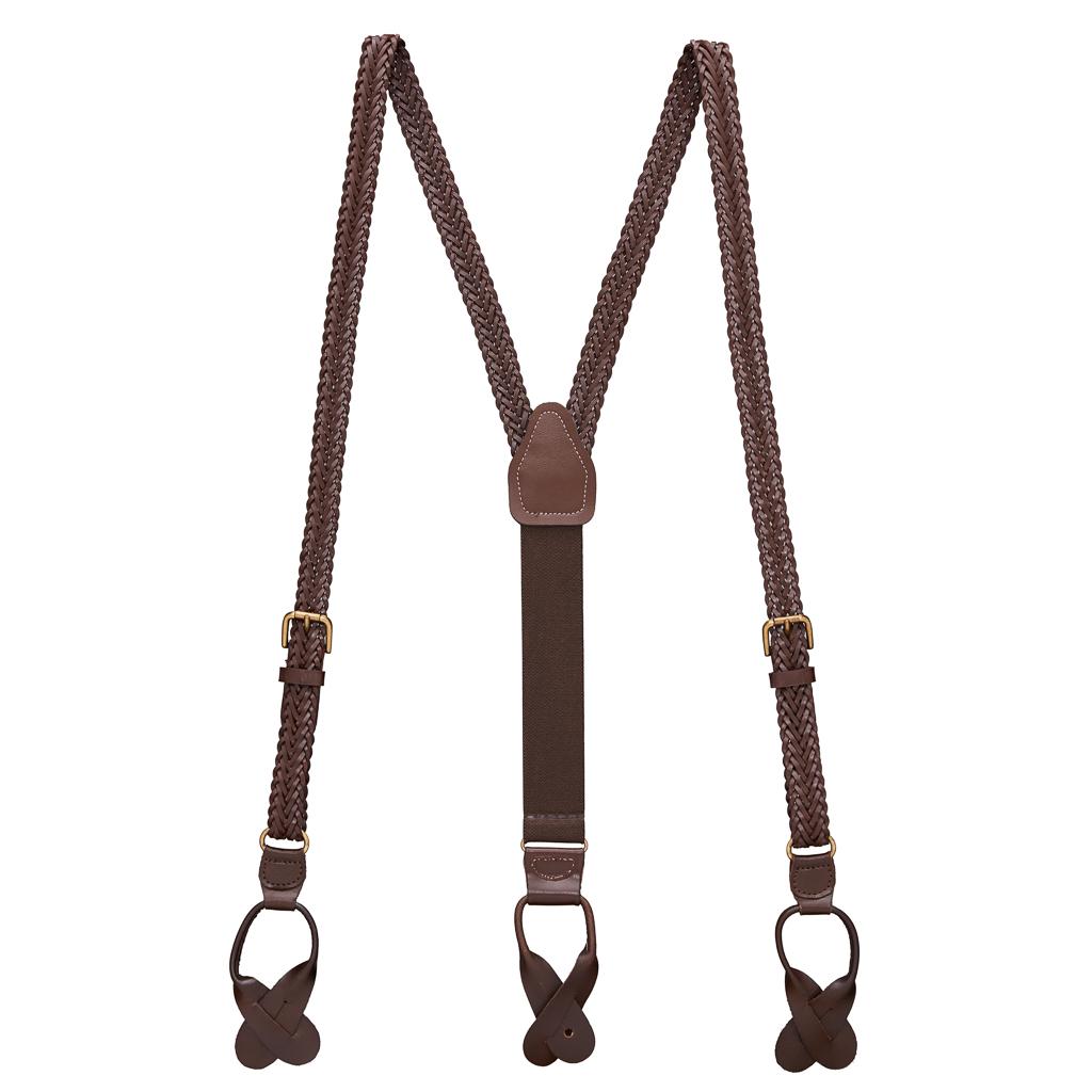Herringbone Braided Leather Suspenders in Brown - Full View