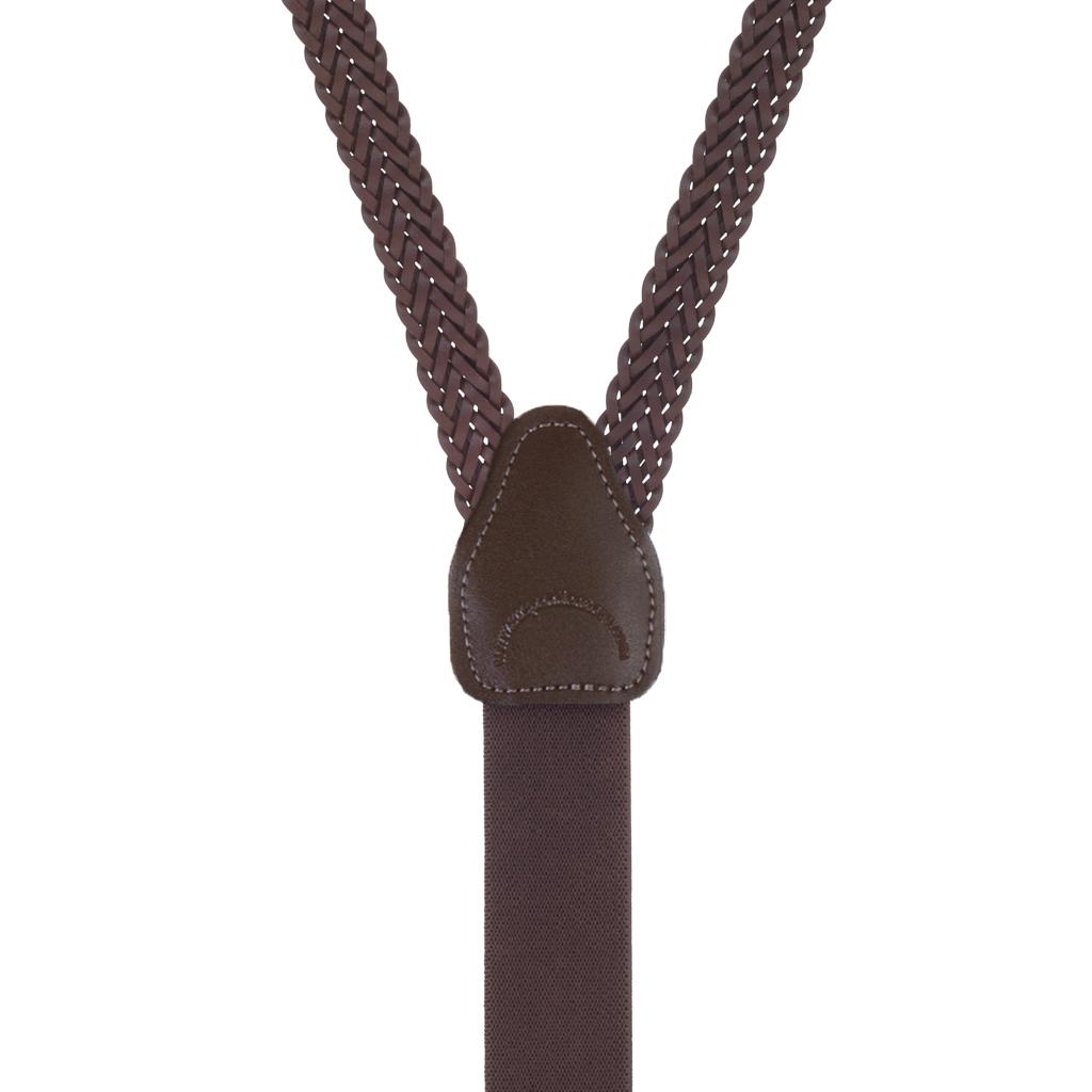 Herringbone Braided Leather Suspenders in Brown - Front View