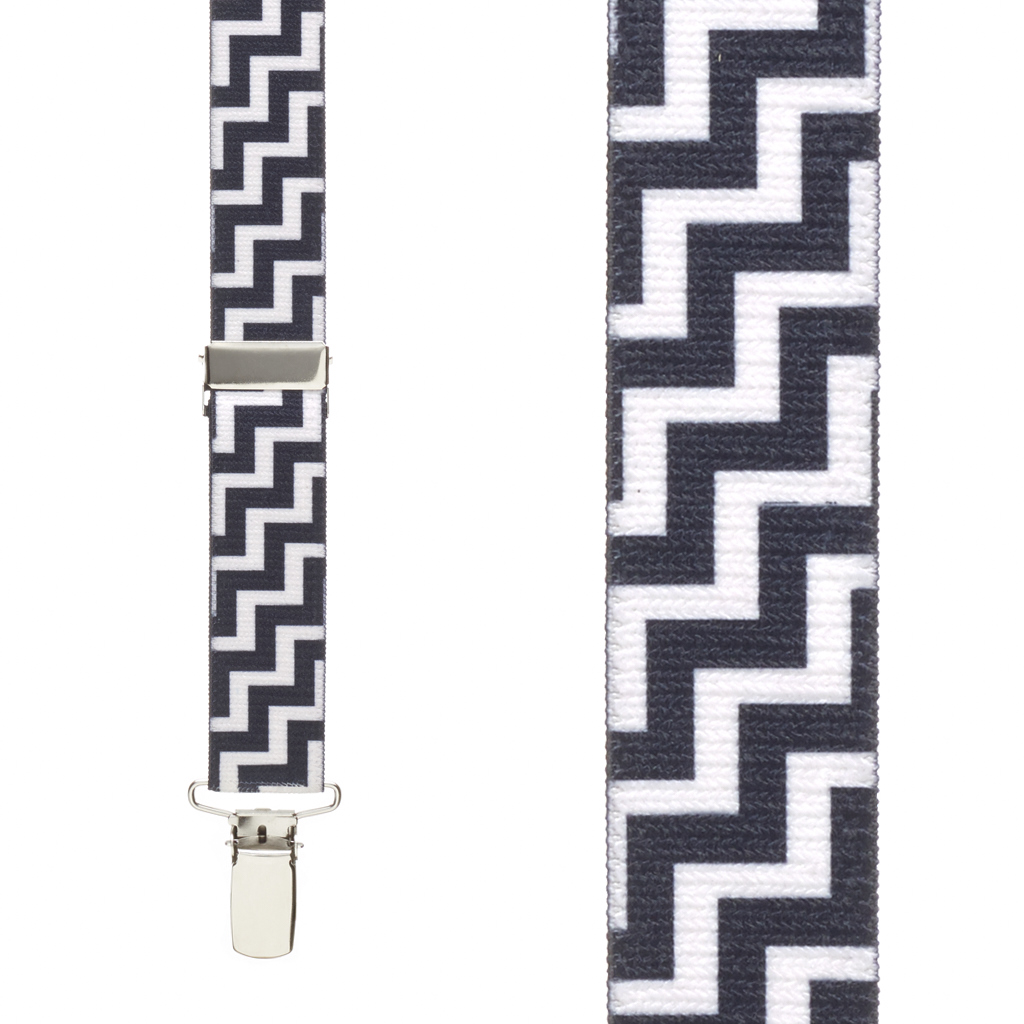 Black & White Zig Zag Suspenders - 1 Inch Y-Back