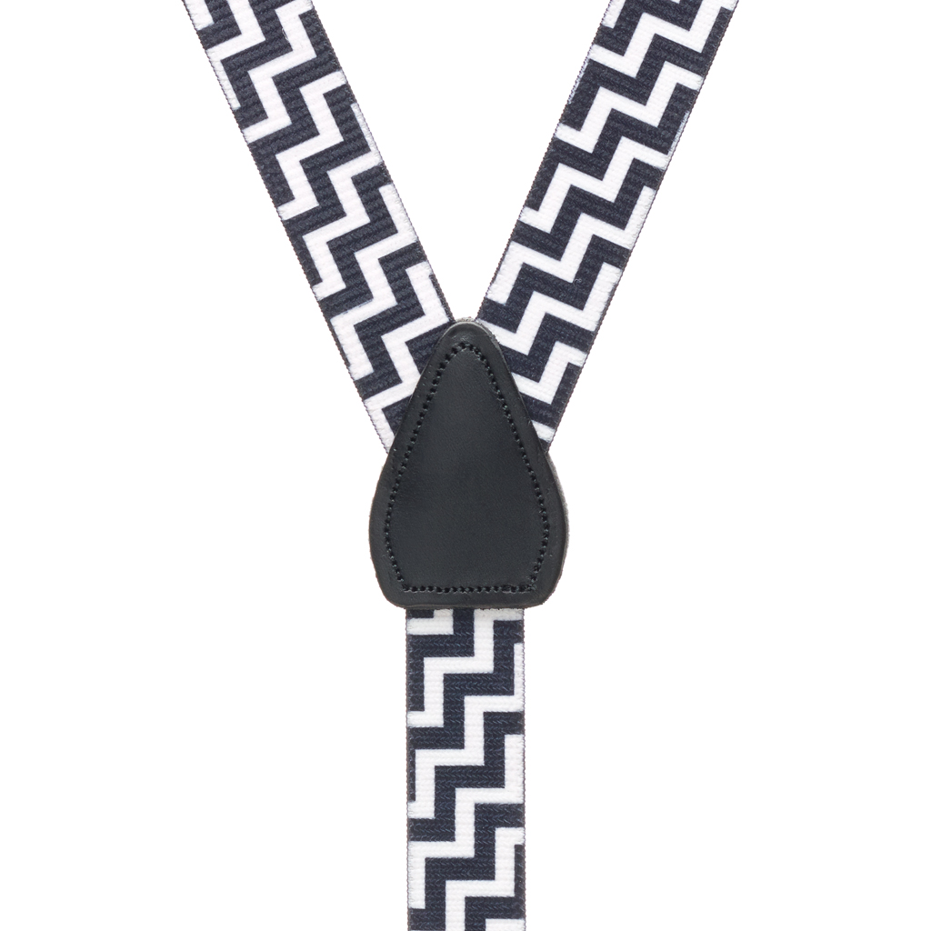 Black & White Zig Zag Suspenders - Rear View