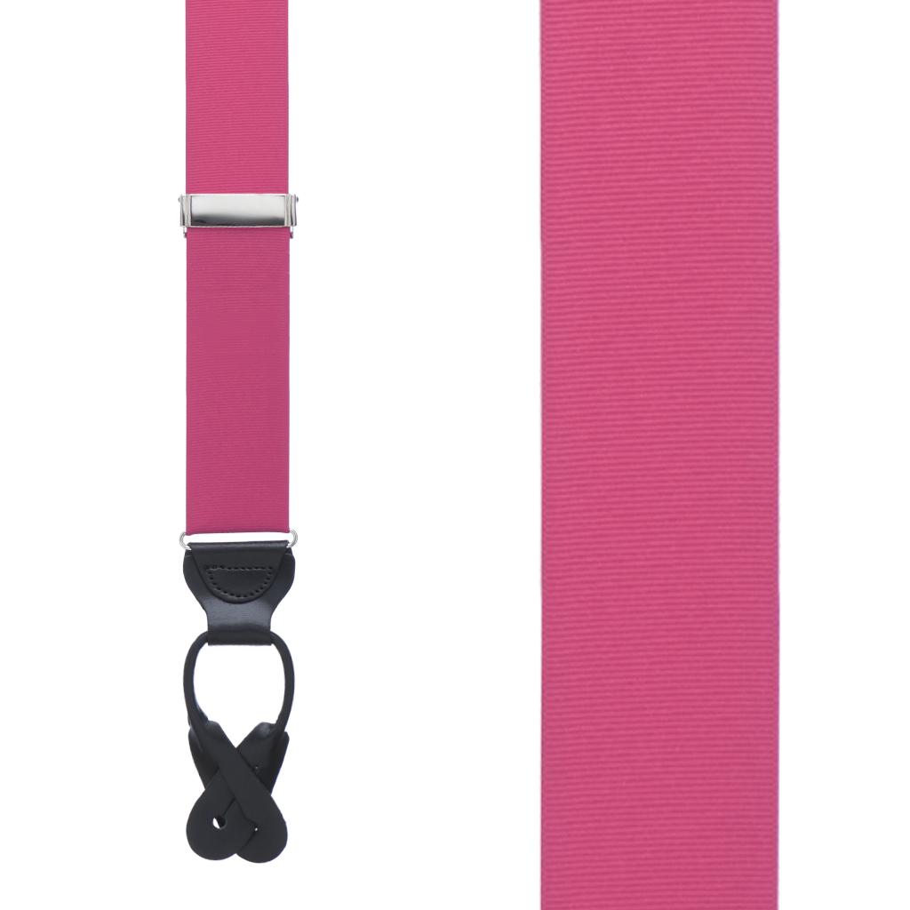 Grosgrain Button Suspenders - Dark Pink Front View
