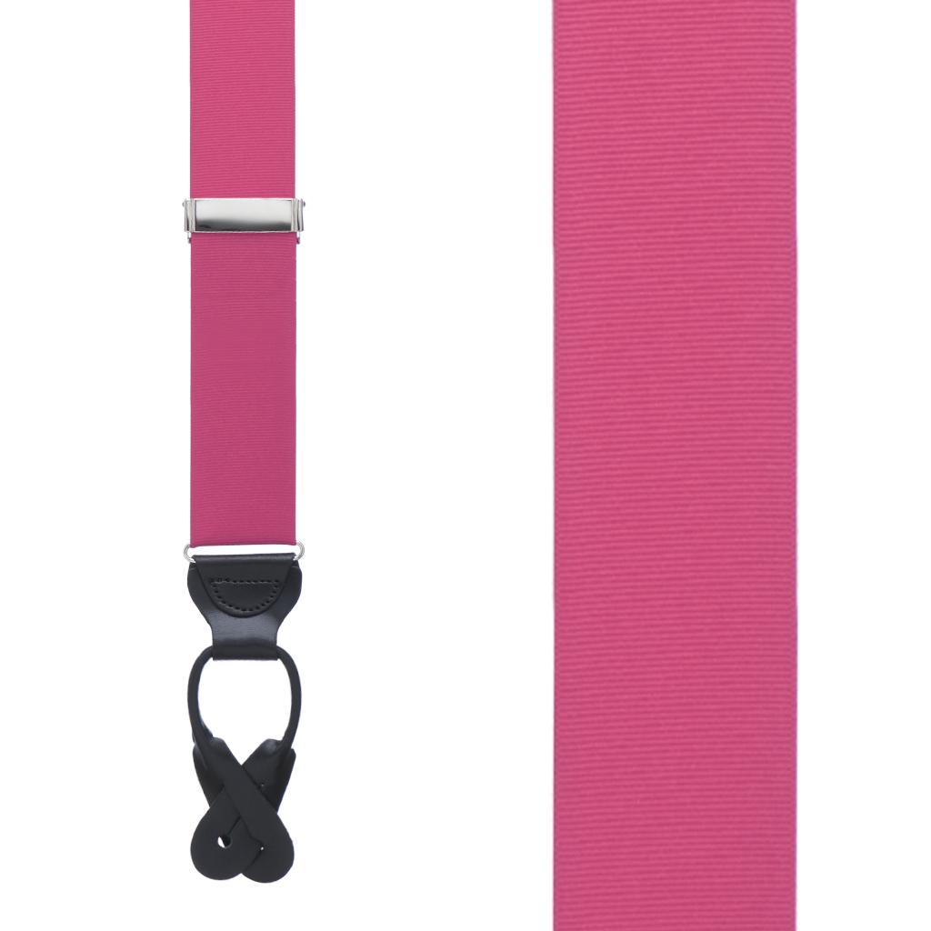 Grosgrain Button Suspenders - Dark Pink Front View