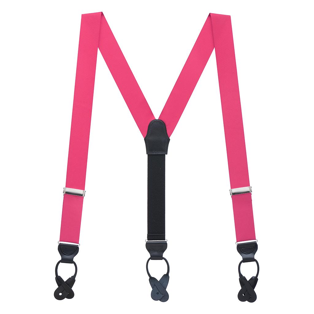 Grosgrain Button Suspenders - Dark Pink Full View
