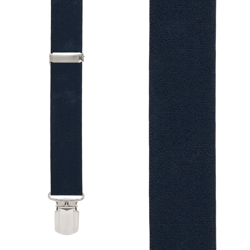 Front View - 1.5 Inch Wide Solid Pin Clip Suspenders - Navy