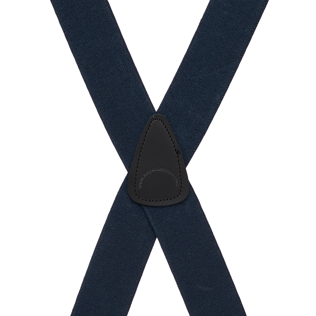 Solid Pin Clip Suspenders in Navy - Rear View