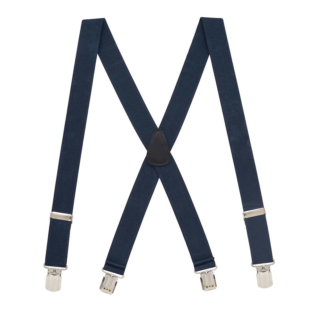 Full View - 1.5 Inch Wide Solid Pin Clip Suspenders - Navy