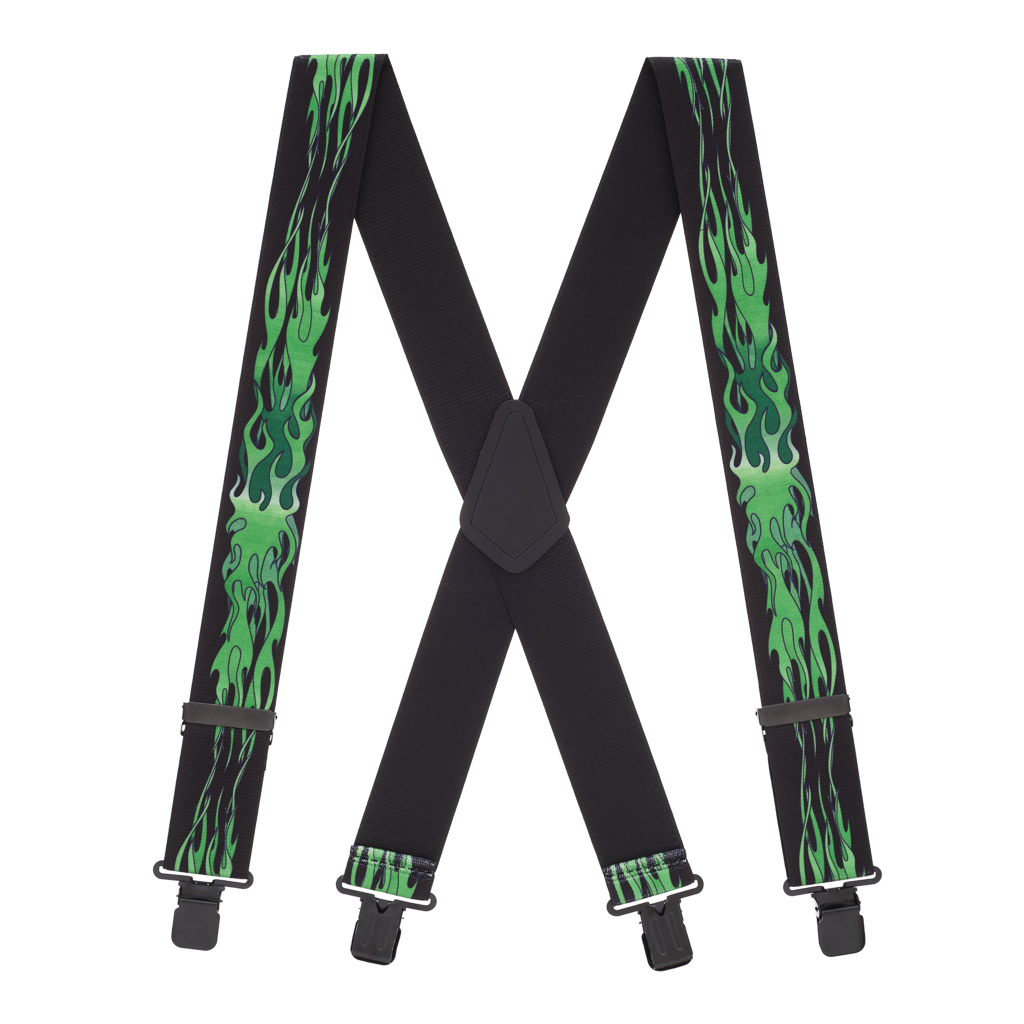 Green Flames Suspenders - Full View