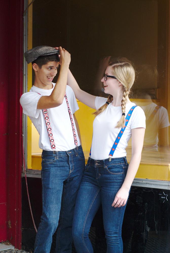 Models wearing suspenders