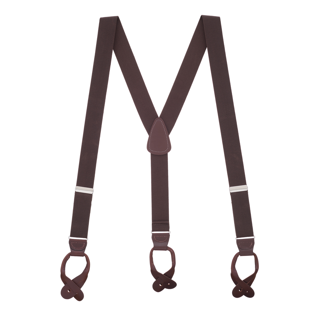 1.25 Inch Wide Button Suspenders in Brown - Full View