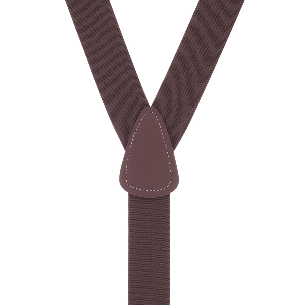 1.25 Inch Wide Button Suspenders in Brown - Rear View
