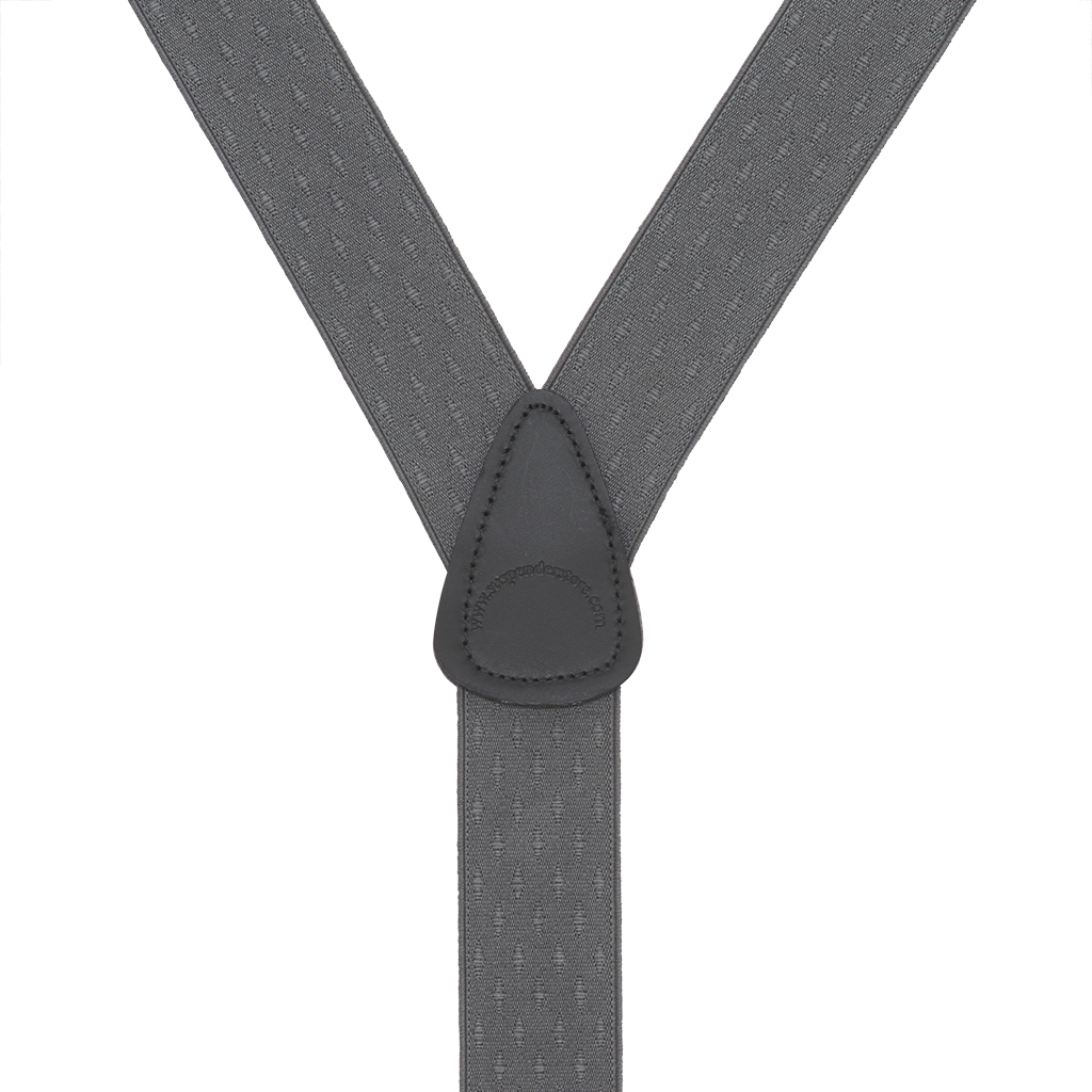 Grey Jacquard Suspenders - Petite Diamonds Button Rear View