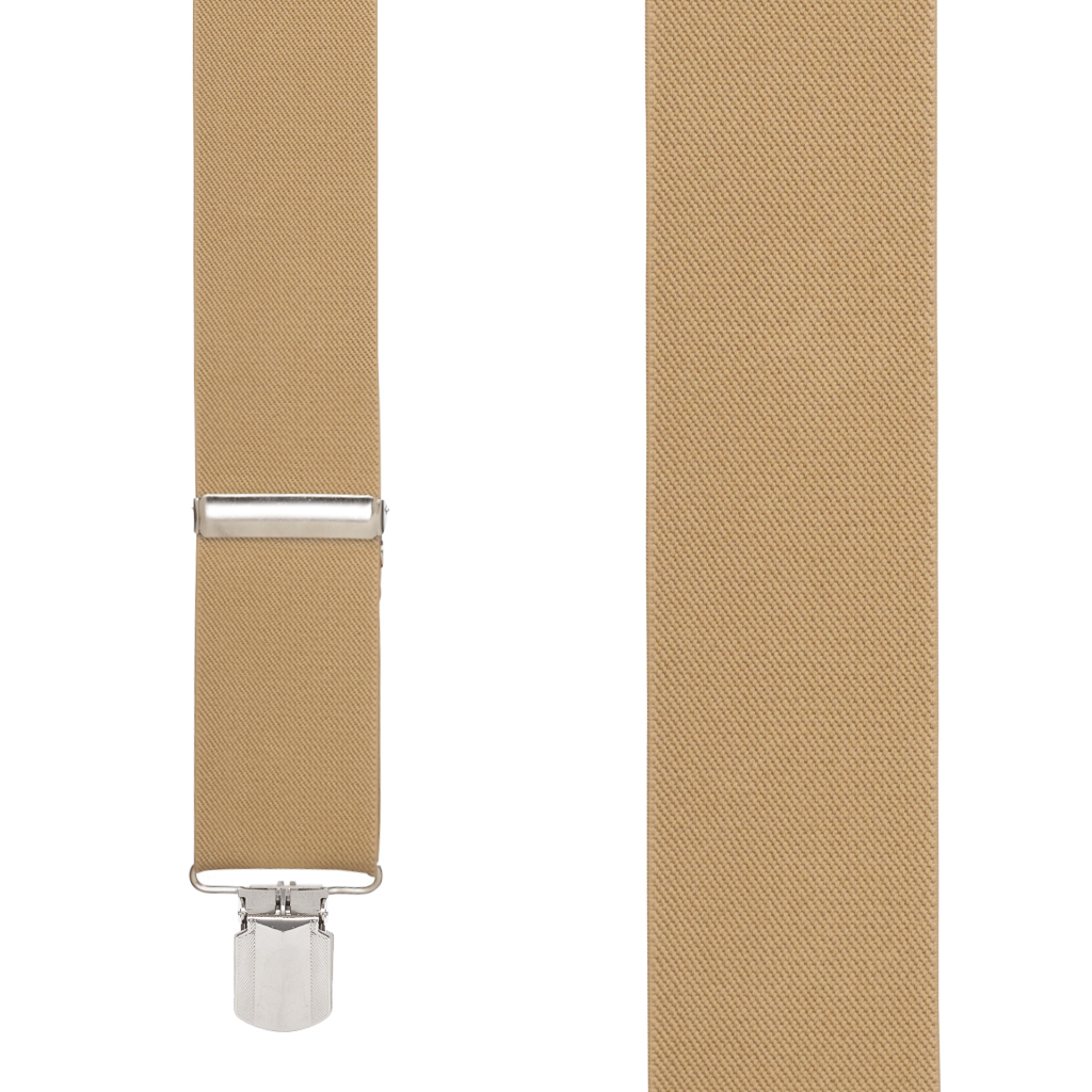 2 Inch Wide Pin Clip Suspenders - TAN Front View
